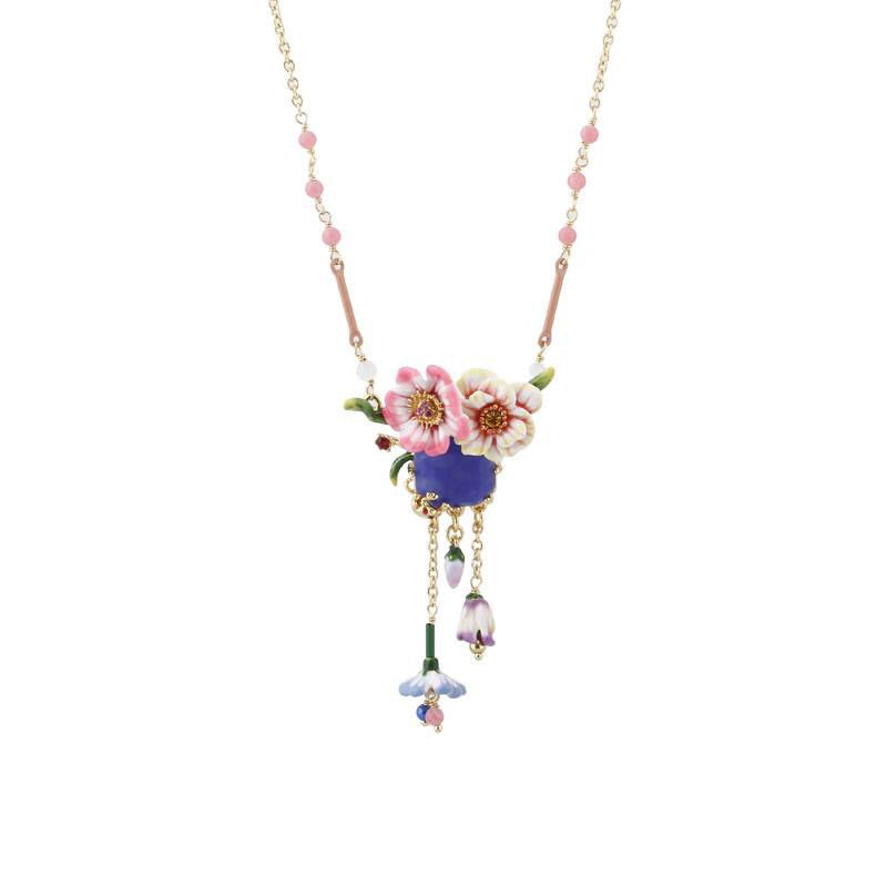 Monet garden inspired necklace drop detail