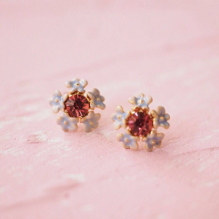 Pretty blue and pink stud earrings