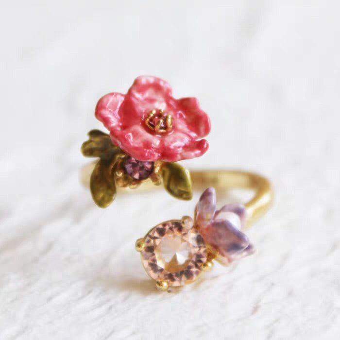 Pansy and pink crystal adjustable ring