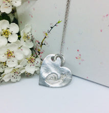 Sterling silver large heart impressions necklace