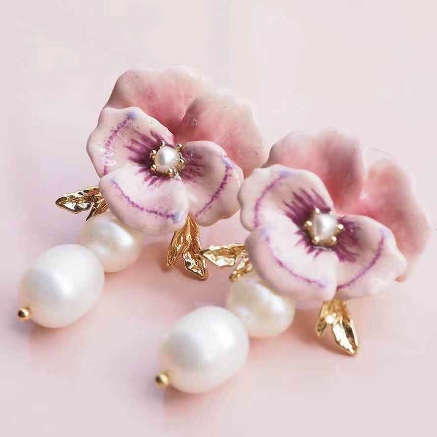 Pansy and pearl earrings