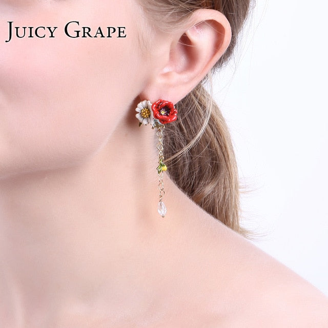 Hand Painted Enamel Women Earrings Eardrop With Red Rose and White Rose