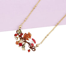 Squirrel Mushroom Red Fruit Gold plated