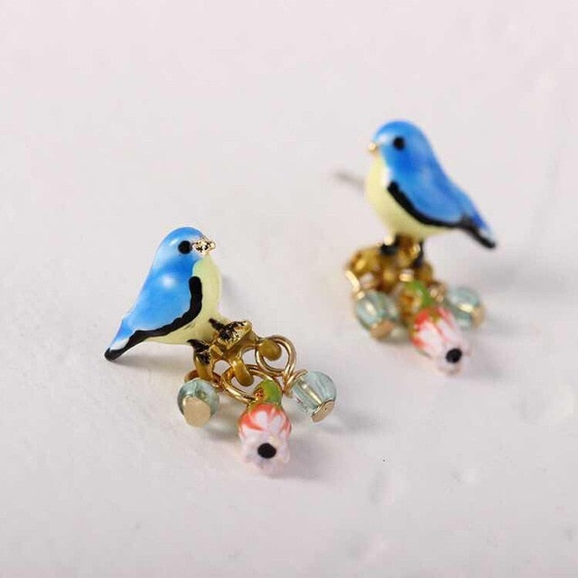 Handmade Designer Blue bird studs with hand painted detail