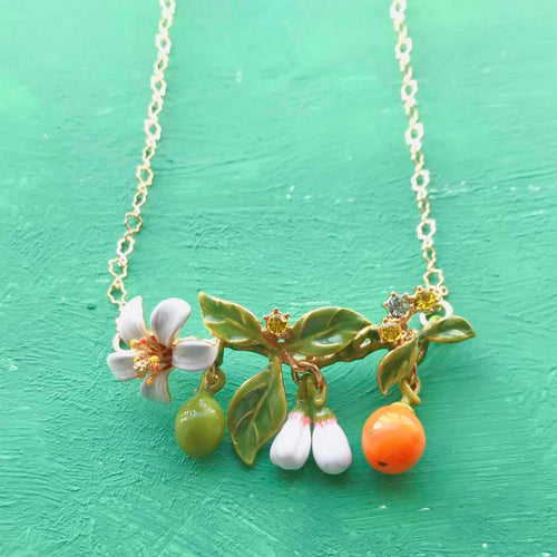 2Handmade Luxury Enamel Glaze Orange White blossom
