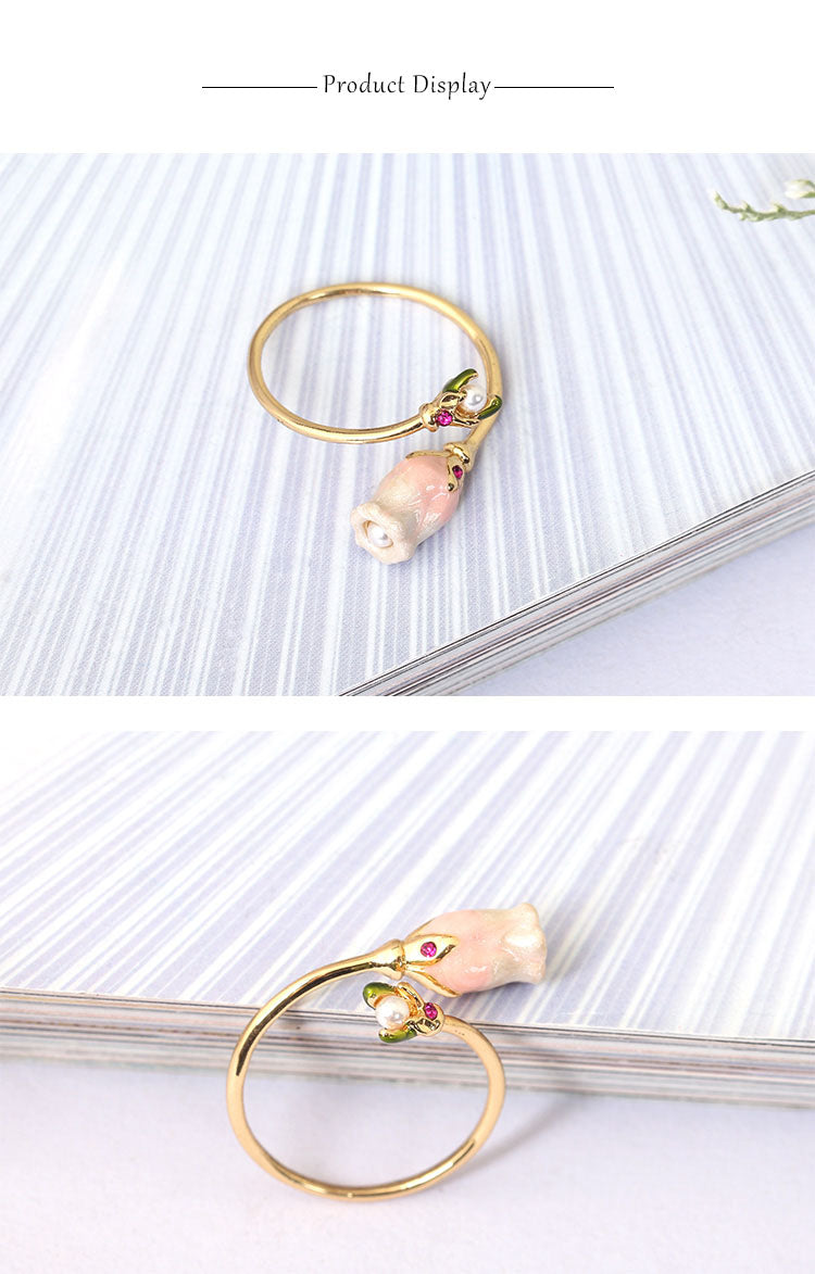 Romantic pearl Ring gold plated with Hand Painted Enamel