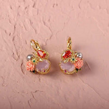 Lovely Rose Flower and crystal drop earrings