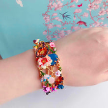 Spring Winter Monet Garden Flower Enamel Glaze Womens Bangle