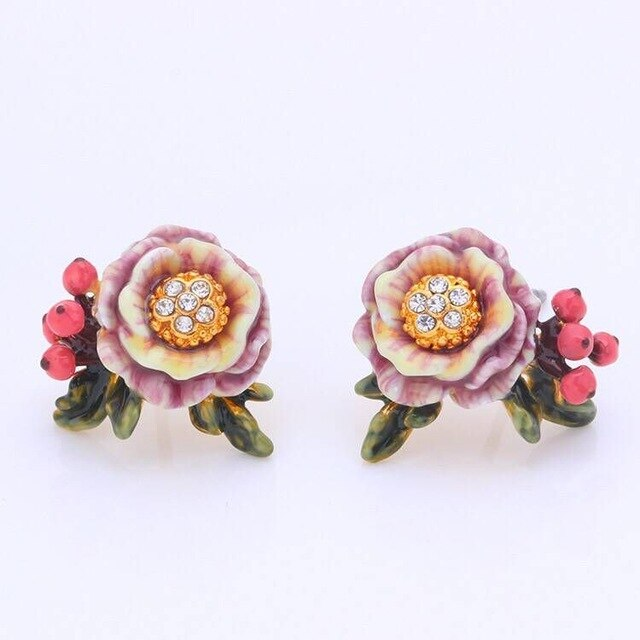 Pale pink and white stone stud earrings