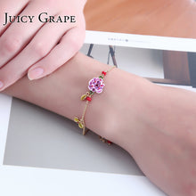 France Lavender Rose Flower Garden Bracelet