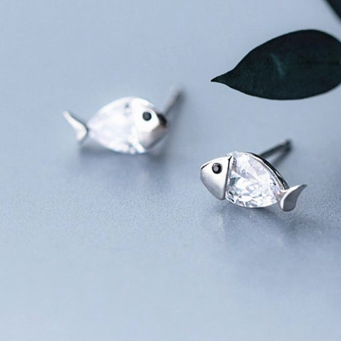 Sterling Silver Tiny Fish Earrings