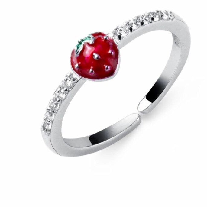 Sterling Silver Fruit Strawberry  Rings