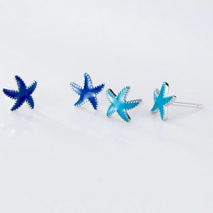 925 Sterling Silver light Blue Starfish Star Stud