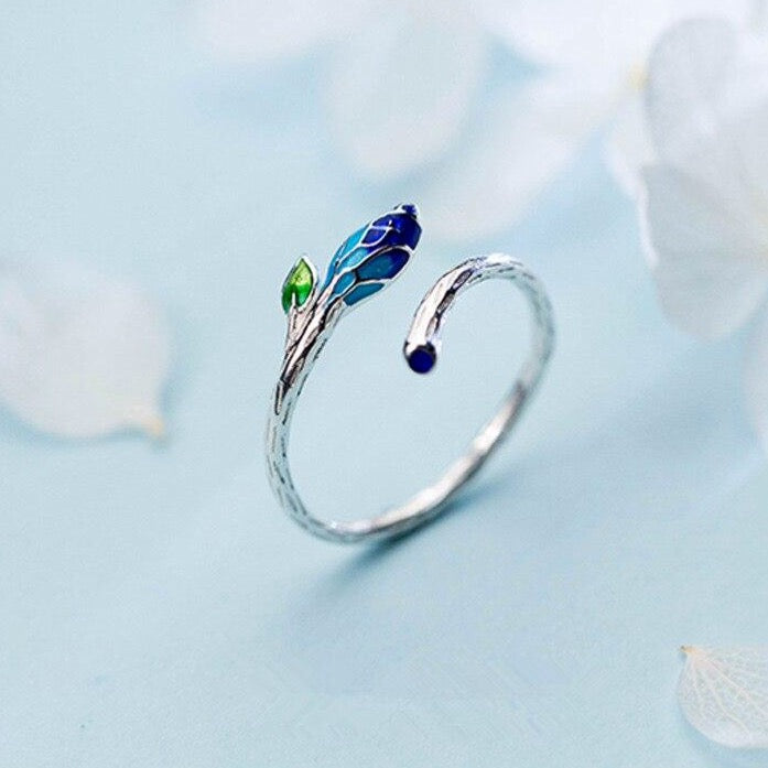 925 Sterling Silver Blue flower adjustable ring