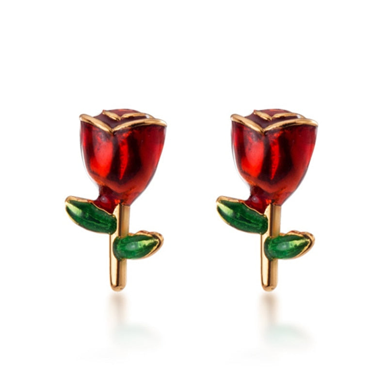 925 Sterling Silver Romantic Red Rose Studs
