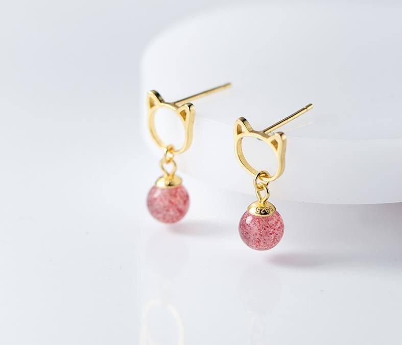 Sterling Silver Cute Pink Strawberry Crystal Earrings
