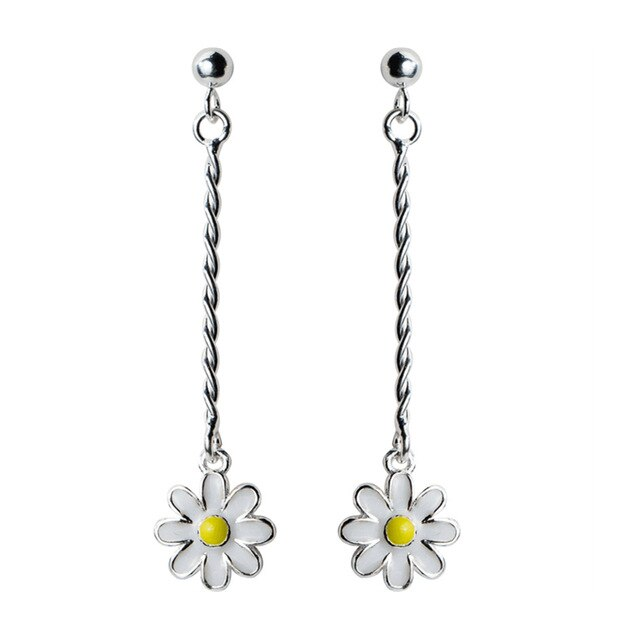 925 Sterling Silver Daisy drop Earrings