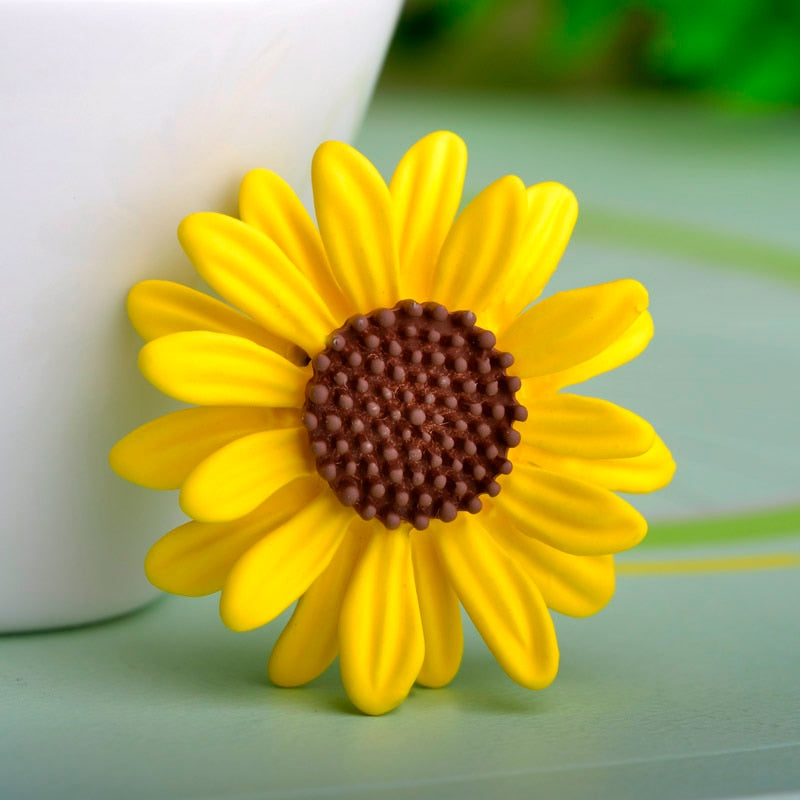 Yellow Sun Flower Brooch