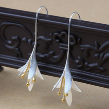 Silver Lily Drop Earrings