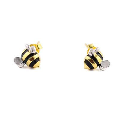 Silver Bees Stud Earrings