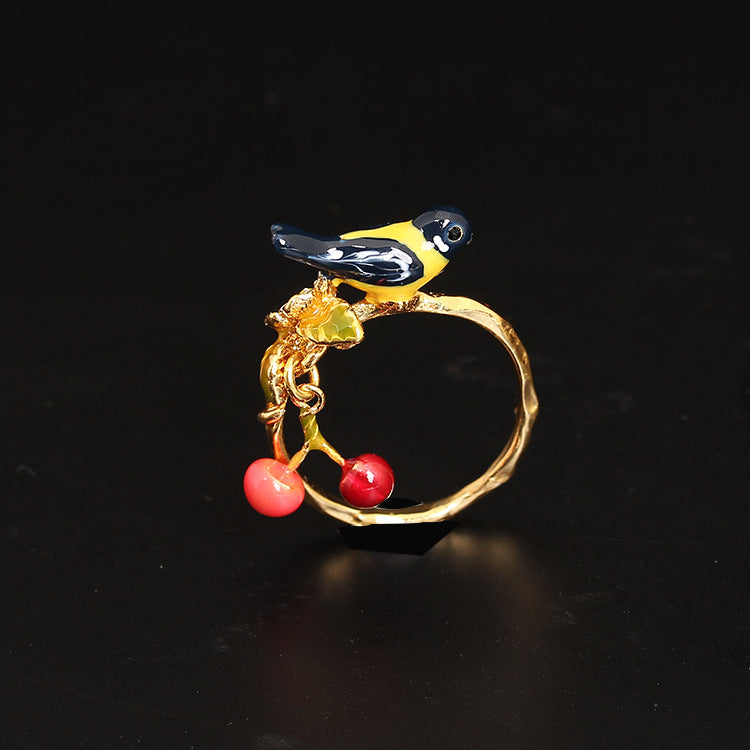 Delicate Cherry Bird Ring