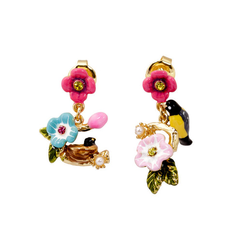 Baby Bird Flower Earrings