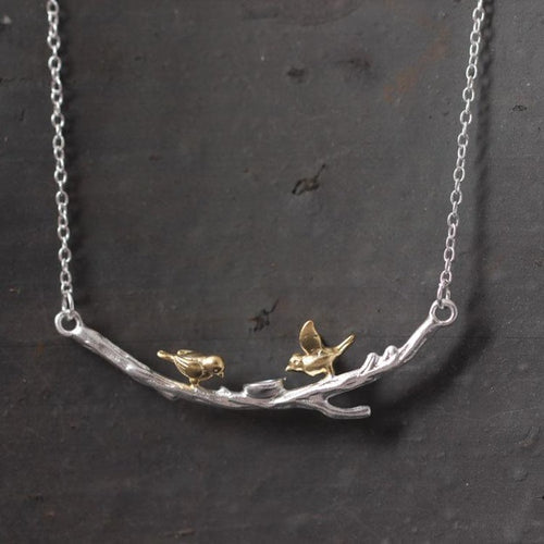 925 Sterling-silver-jewelry Golden Tree Branches Birdie Necklaces