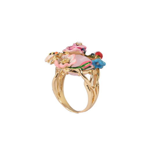 Pink Flower Ladybird Gem Ring