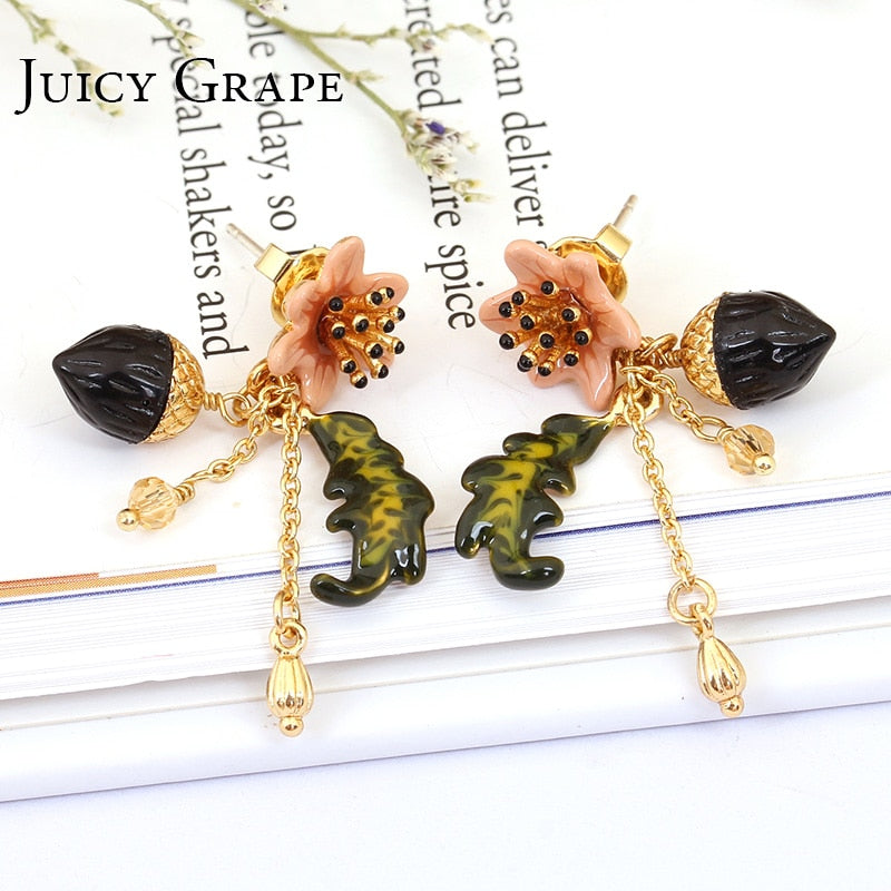 Earrings stud hand painted enamel pine cone earring