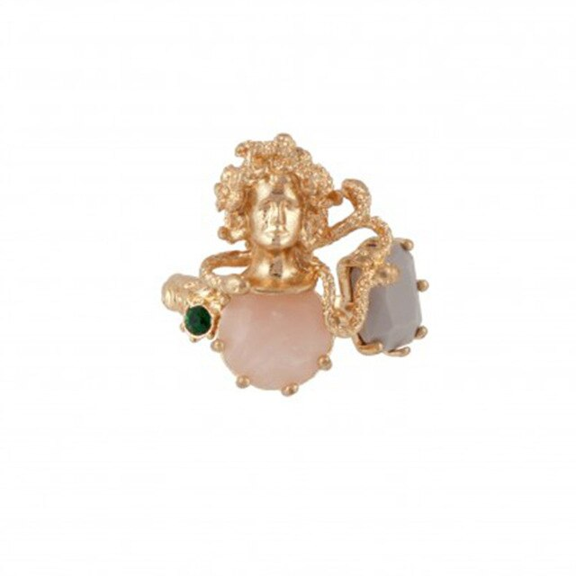 stunning Medusa gold plated ring with stone detail.