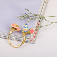 Three-dimensional Pink Flower Blue Tit Birdie Adjustable Ring
