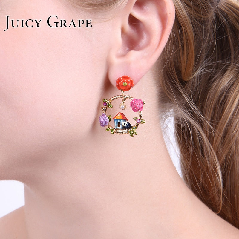 Juicy Grape Hand Painted Enamel Glaze Earrings Flower House birds Earrings Enamel Craft Stud Earrings Fashion Jewelry Women