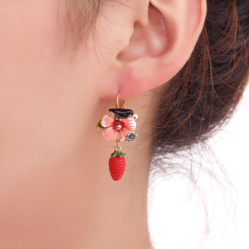 Hand Painted Fruit Strawberry Earrings gold Plated