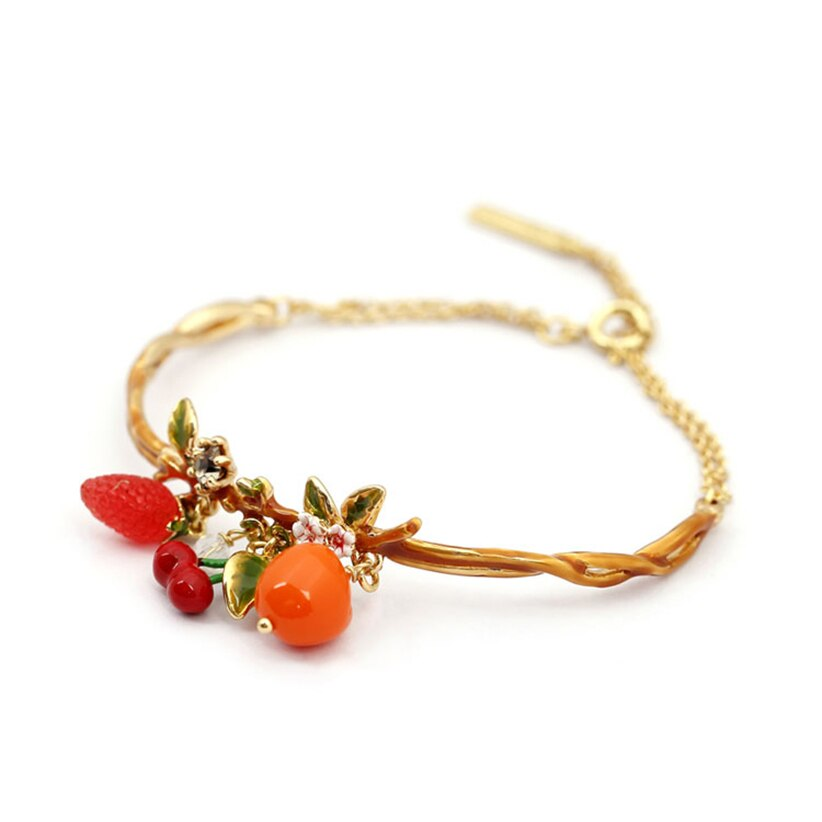 Plants Series Cherry Strawberry Fruits Bracelets