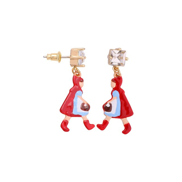 Hand painted Little Red Riding Hood earrings
