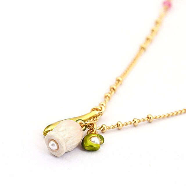 Romantic Enamel Bell Orchid Flower Long Chain Luxury NecklaceSimple