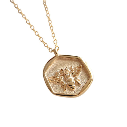 925 sterling silver insect bee pendant in rose gold.