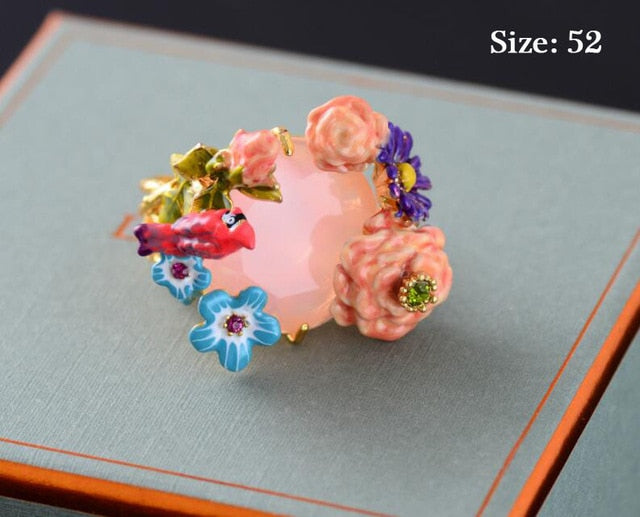 glaze exquisite Pink flower Creative Ring