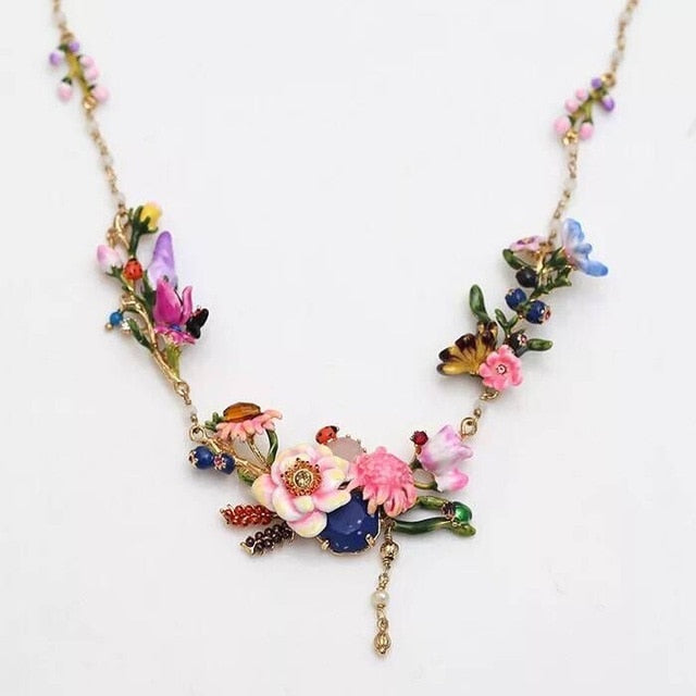 Spring Winter Monet Garden Flower Necklace