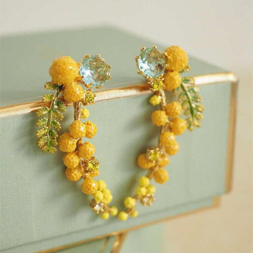 EnamelProvence Mimosa Stud Earrings Necklace