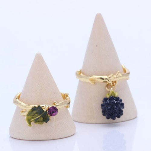 Raspberry Blackberries Leaves Adjustable Rings Enamelled