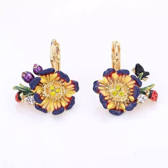 Spring Winter Monet Garden Flower Butterfly Tassels Drop Earring