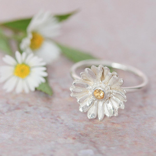 Silver Daisy Ring with Citrine