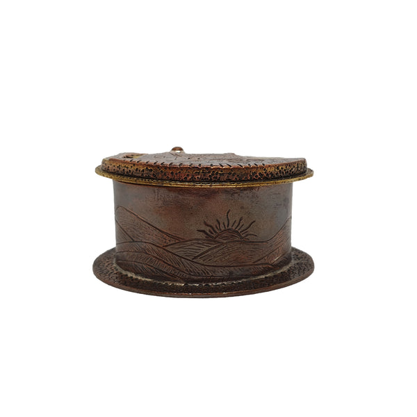 Miniature Copper, Brass and Citrine Cottage Box