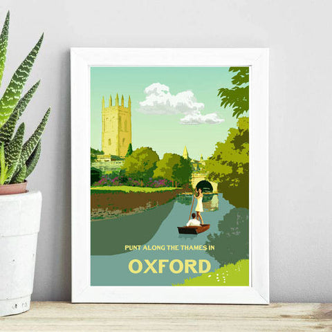 Oxford, Print, Digital Print, Travel Poster, Hannah Elizabeth, Unframed