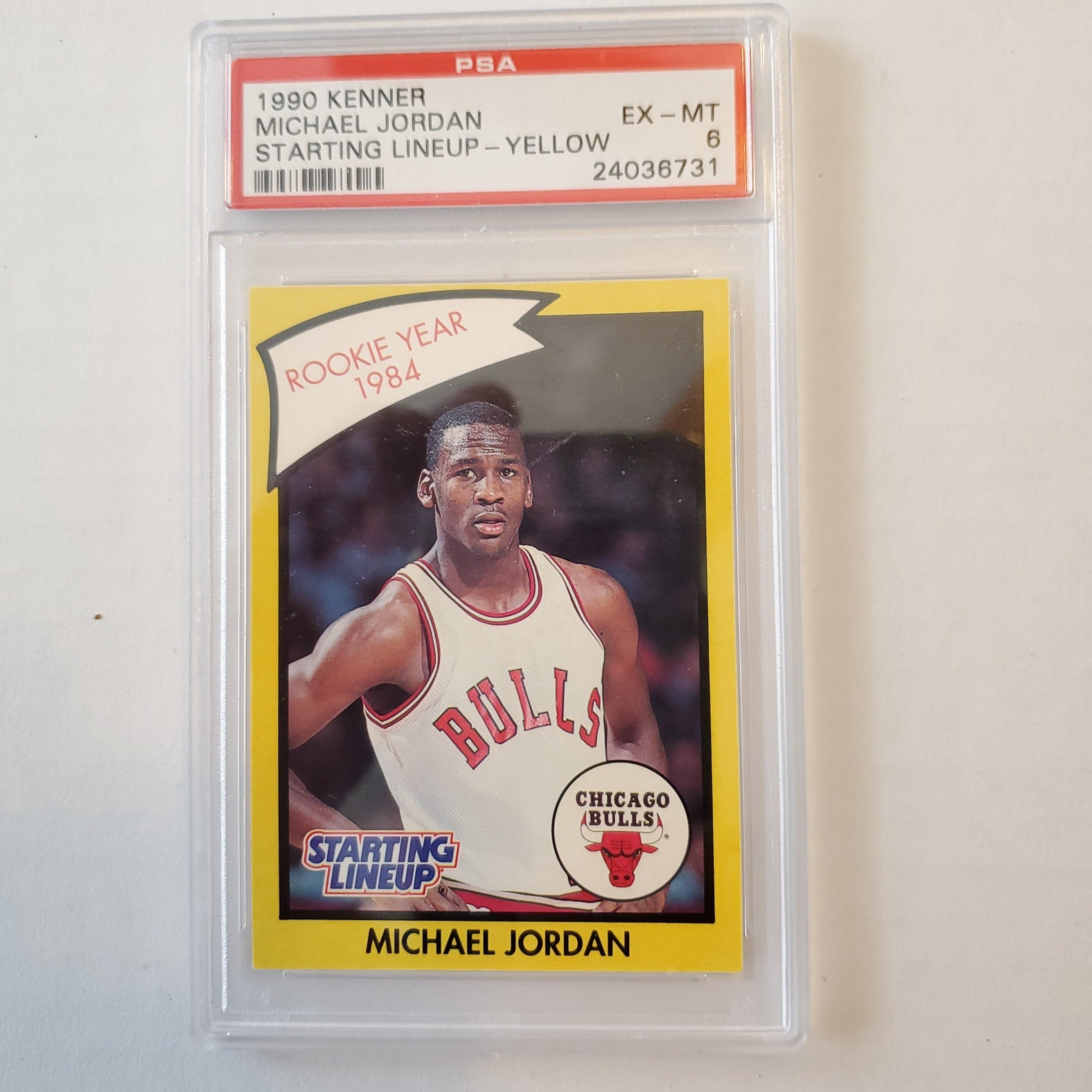 1990 Kenner starting lineup Michael Jordan card PSA6