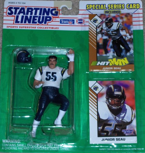 1993 Junior Seau San Diego Chargers Kenner SLU Starting Lineup NFL Football Figure