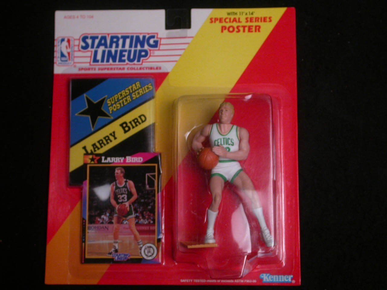 1992 Larry Bird Starting Lineup Figure with Poster and Collector Card Boston Celtics
