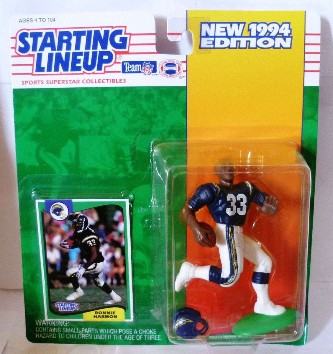 Ronnie Harmon Action Figure of the San Diego Chargers - 1994 Starting Lineup NFL Sports Superstar Collectibles