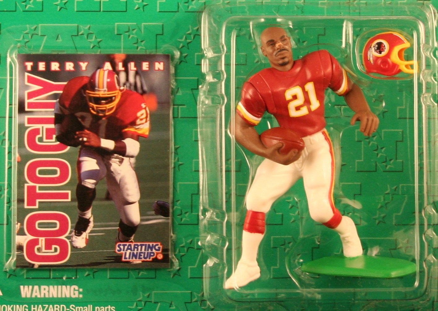 TERRY ALLEN / WASHINGTON REDSKINS 1996 NFL Starting Lineup Action Figure & Exclusive NFL Collector Trading Card